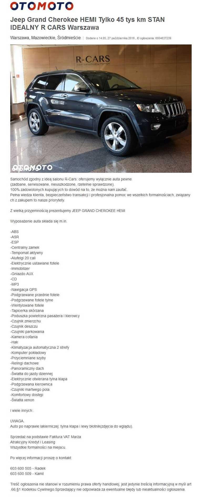 JEEP GRAND CHEROKEE WD5300F VIN:1C4RJFBT2DC648359